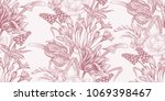 Spring flowers. Flower vintage seamless pattern. Oriental style. Tulips, buttercups, muscari, freesia, African lily. White and red. Background for textiles, paper, wallpaper.