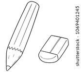 vector set of pencil and eraser | Shutterstock .eps vector #1069401245