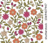 seamless colorful floral... | Shutterstock .eps vector #1069407947