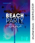 summer beach party poster... | Shutterstock .eps vector #1069413539