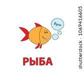 cartoon fish flashcard. vector... | Shutterstock .eps vector #1069416605