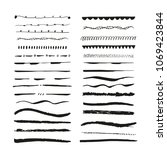 collection of hand drawn ink... | Shutterstock . vector #1069423844