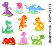cartoon dragon vector cute... | Shutterstock .eps vector #1069426691