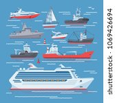 ships vector boats or cruise... | Shutterstock .eps vector #1069426694