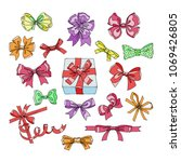 bow vector bowknot or ribbon... | Shutterstock .eps vector #1069426805