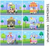 set of mobile fast street food... | Shutterstock .eps vector #1069428431