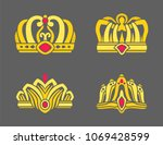 gold crowns inlaid with rubies... | Shutterstock .eps vector #1069428599