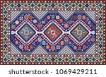 colorful mosaic oriental rug... | Shutterstock .eps vector #1069429211