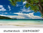 tropical landscape with... | Shutterstock . vector #1069436087