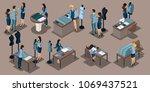 isometrics girl tailor  a set... | Shutterstock .eps vector #1069437521