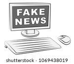 fake news data report desktop...   Shutterstock . vector #1069438019