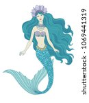 hand drawn mermaid holding a... | Shutterstock .eps vector #1069441319