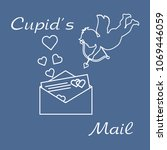 cupid shoots a bow and envelope ...   Shutterstock .eps vector #1069446059
