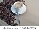 a cup of hot coffee | Shutterstock . vector #1069448255