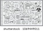 business idea doodles icons set.... | Shutterstock .eps vector #1069449011