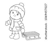coloring page outline of... | Shutterstock .eps vector #1069457027