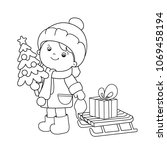 coloring page outline of girl... | Shutterstock .eps vector #1069458194