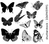 Stock vector set of black and white vector butterflies 106945991