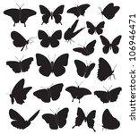butterflies  black silhouettes... | Shutterstock .eps vector #106946471