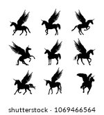 cute magic unicorn pegasus... | Shutterstock .eps vector #1069466564