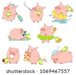 set of cute funny pigs with... | Shutterstock .eps vector #1069467557