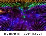 rays of violet and green lights ... | Shutterstock . vector #1069468304