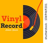 vinyl record music vector with... | Shutterstock .eps vector #1069469201