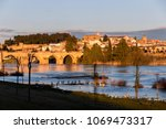 Badajoz, Spain. Views at sunset of river Guadiana, the Alcazaba, the Old Town and the Puente de Palmas bridge
