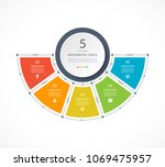 infographic semi circle in thin ... | Shutterstock .eps vector #1069475957