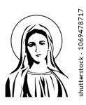 Our Lady Virgin Mary Face Vector