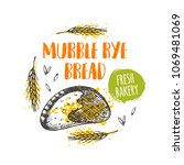 murble rye bread concept design.... | Shutterstock .eps vector #1069481069