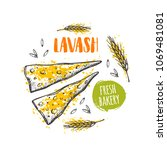 lavash concept design. hand... | Shutterstock .eps vector #1069481081