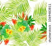 watercolor tropical seamless... | Shutterstock . vector #1069483811