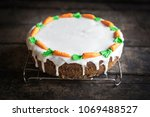 glazed carrot cake served on... | Shutterstock . vector #1069488527