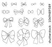 doodle set of bows  raster copy   Shutterstock . vector #1069489589