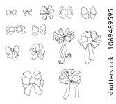 doodle set of bows  raster copy   Shutterstock . vector #1069489595