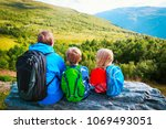family hiking travel in... | Shutterstock . vector #1069493051
