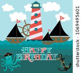 happy birthday card for pirate... | Shutterstock .eps vector #1069495601