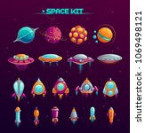 cartoon space war concept.... | Shutterstock .eps vector #1069498121