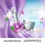 vector  cosmetics jars on bokeh ... | Shutterstock .eps vector #1069499201
