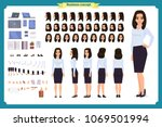 set of businesswoman character... | Shutterstock .eps vector #1069501994