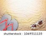 beach background. sunglasses ... | Shutterstock . vector #1069511135