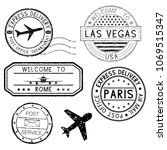 postmarks and travel stamps ... | Shutterstock .eps vector #1069515347