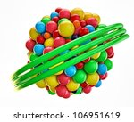 gumballs grouped into an invisible spherical shape - stock photo
