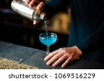 barman at the bar counter pours ... | Shutterstock . vector #1069516229