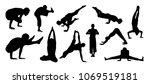 vector set of yoga silhouettes | Shutterstock .eps vector #1069519181