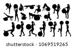 vector set of silhouettes with... | Shutterstock .eps vector #1069519265