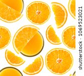 orange seamless pattern. fruit. ... | Shutterstock . vector #1069523021