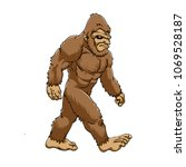 Stock photo bigfoot walking cartoon 1069528187