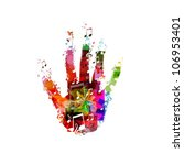 colorful music hand vector | Shutterstock .eps vector #106953401